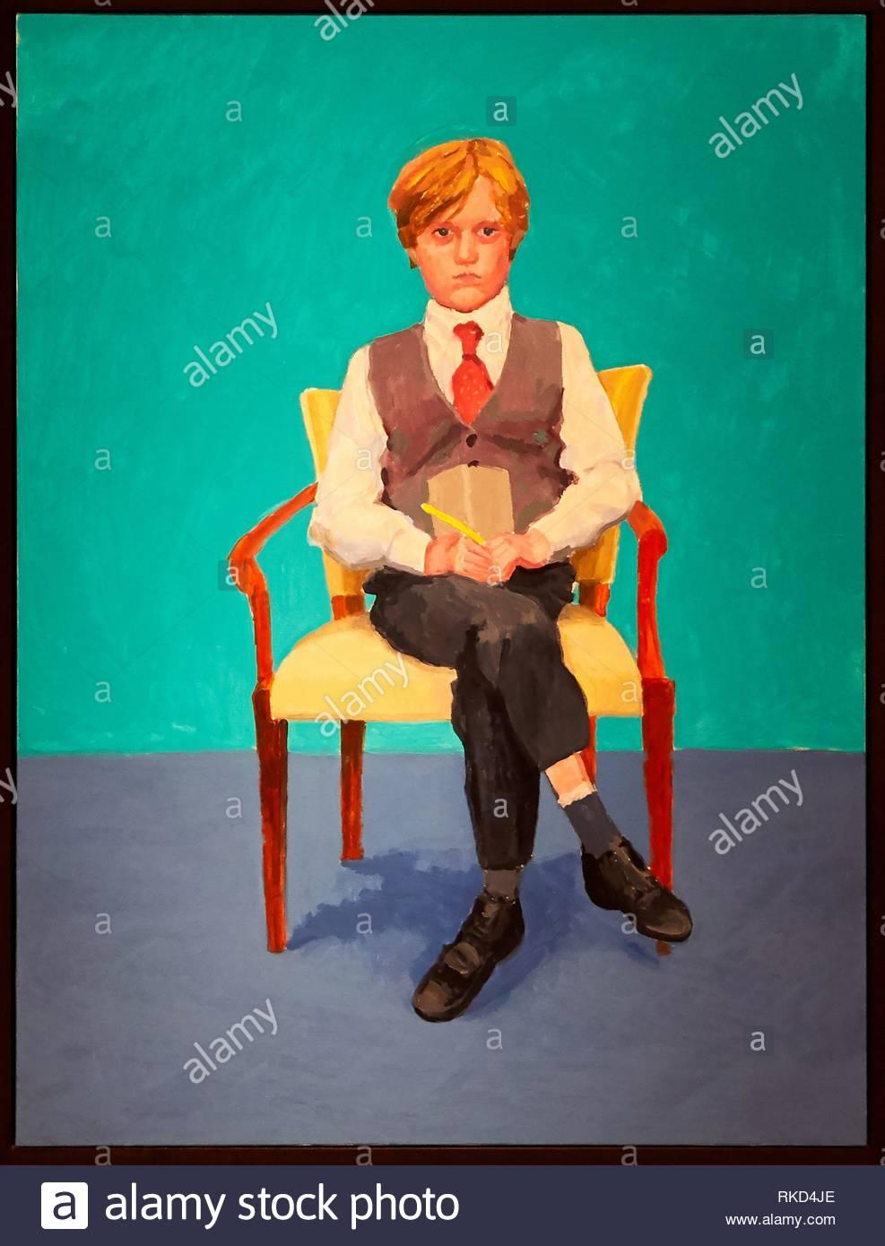 '''Rufus Hale'', ''82 Portraits and 1 Still-life'', David Hockney, Guggenheim Museum, Bilbao, Bizkaia, Basque Country, Spain, Europe - Stock Image
