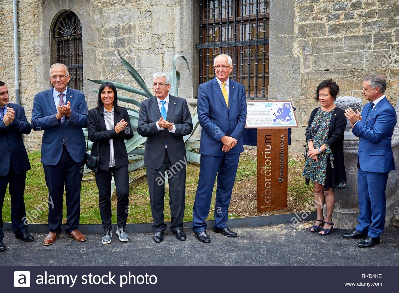 Iñigo Urkullu, Lehendakari Basque Premier, Elena Lete, Mayor of Bergara, Pedro Miguel Echenique, President DIPC, Rudiger Voss, President European - Stock Image
