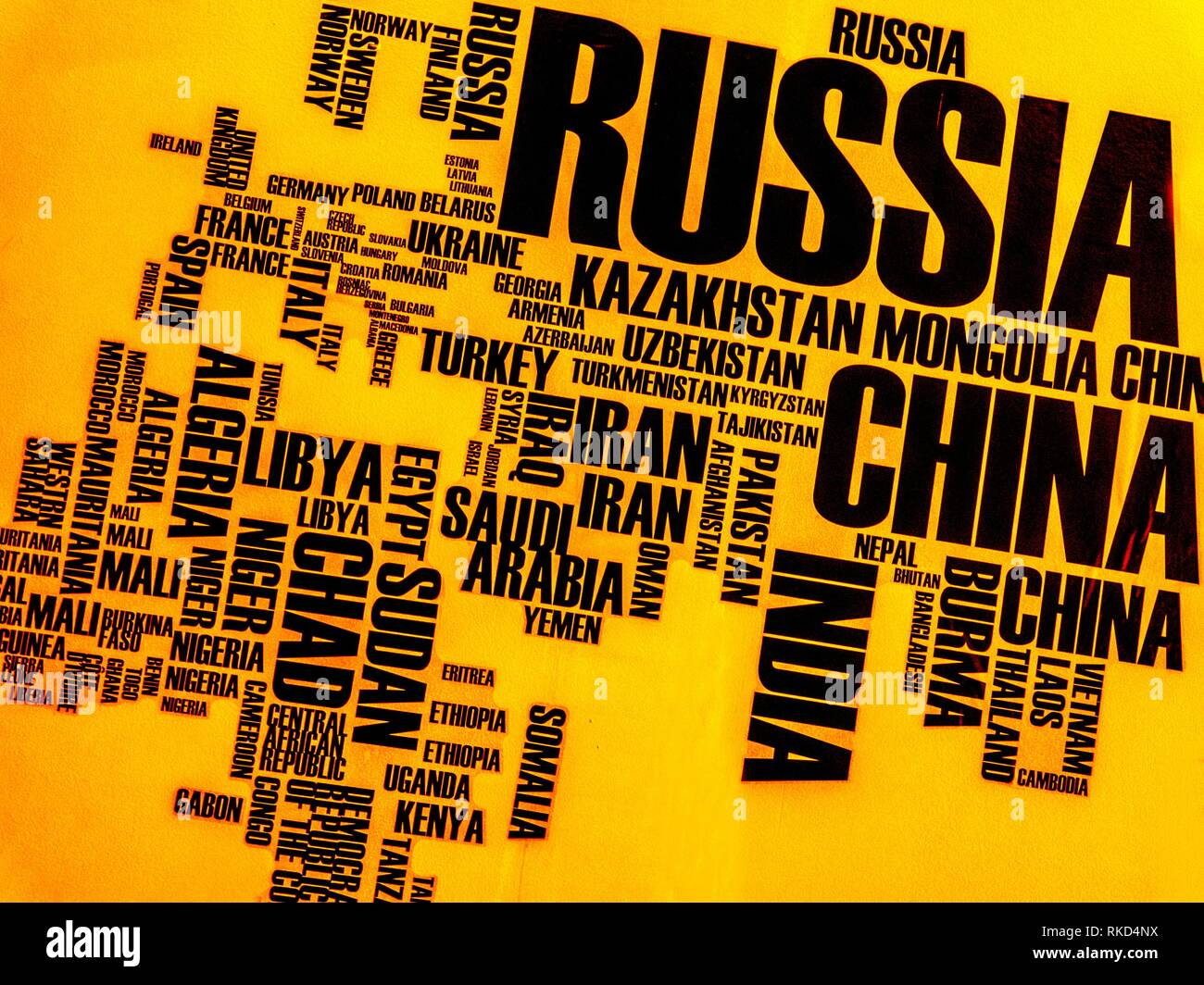 World map made with words - Stock Image