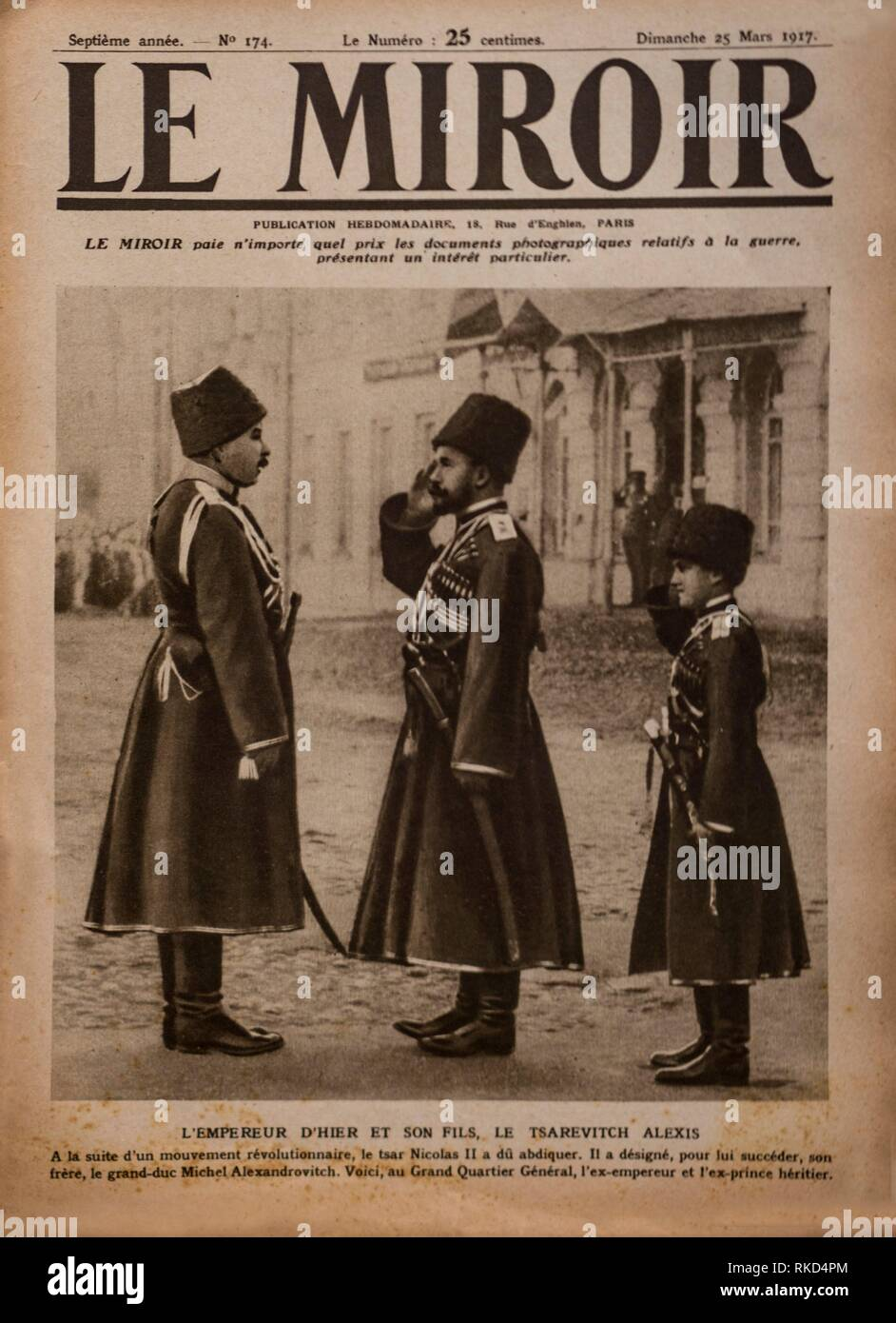 France, Cover of ''Le Miroir'' magazine of 25th. of march 1917...In Russia, the former Tsar Nicolas II with the Tsarevitch Alexis - Stock Image