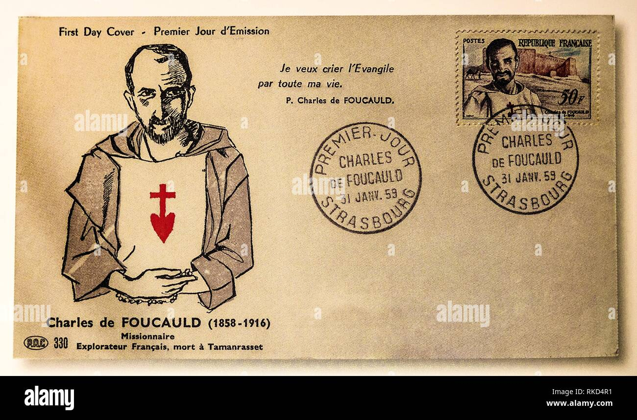 France, 1959- First day cover of a stamp on Charles de Foucault. Charles de Foucauld. Blessed Charles Eugène de Foucauld (15 September 1858 – 1 - Stock Image