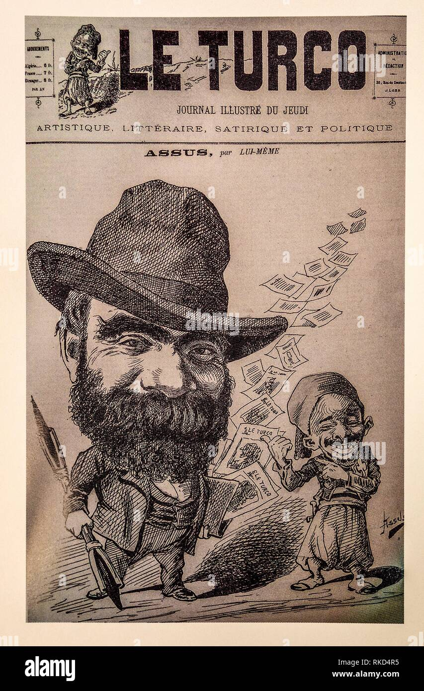 France, Algier. Cover of ´´Le Turco´´ magazine, with Assus, considered as the ´´King´´ of ´´pataouète´´ language. During the French colonisation from - Stock Image