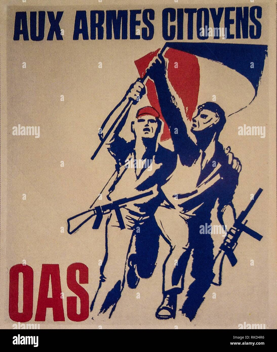 France, Algier, poster of ´´OAS´´. The Organisation armée secrète or OAS (meaning Secret Army Organisation) was a short-lived right-wing French - Stock Image