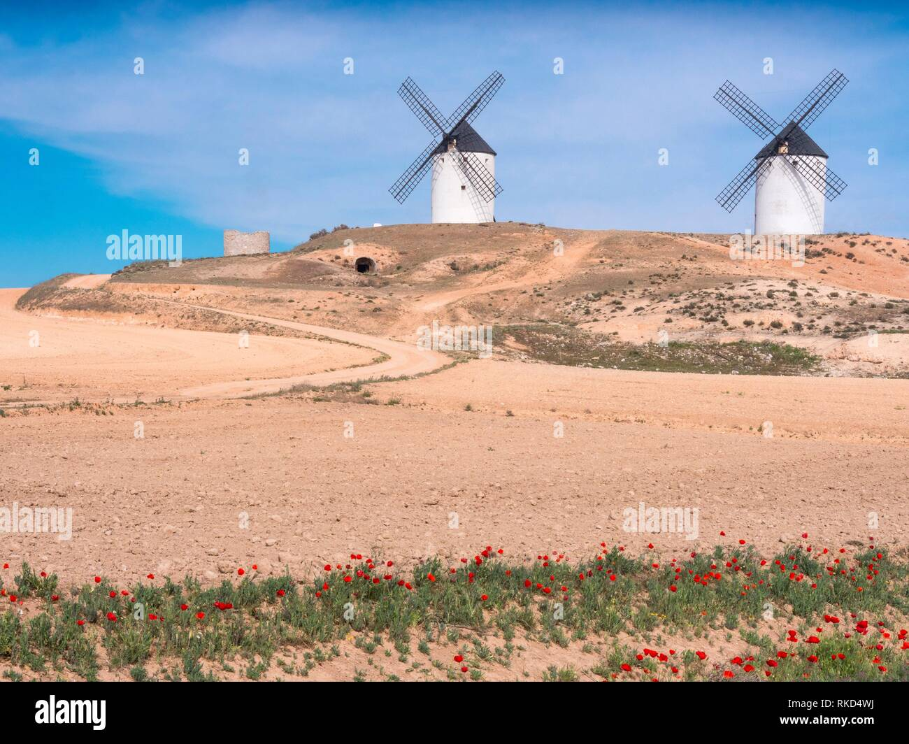 Spain, Castile-La Mancha, Province of Ciudad Real, the famed Don Quixote´s Windmills at Tembleque - Stock Image
