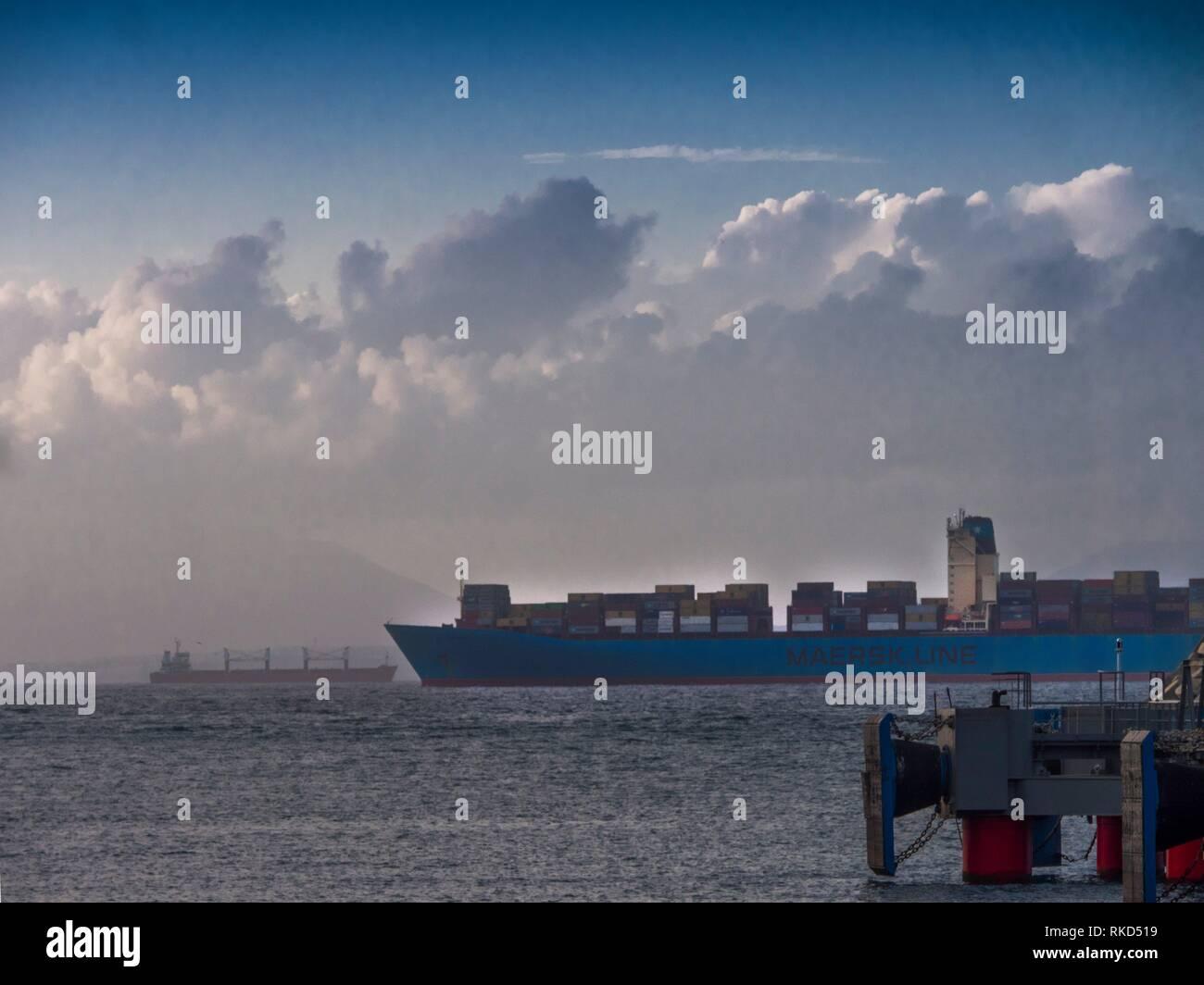 Morocco, the Strait of Gibraltar from Tanger Med harbour. - Stock Image
