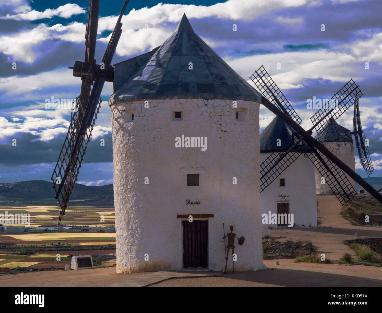 Spain,Castile-La Mancha, Toledo, the famed Don Quixote windmills at Consuegra - Stock Image