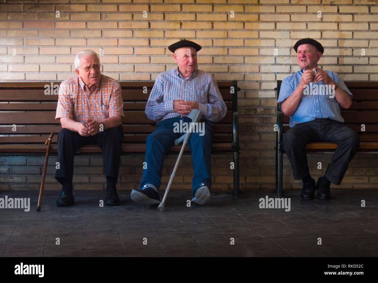 Spain,Vizcaya, Basque Country, Guernica, older men with the typical ''boina'' hat. - Stock Image