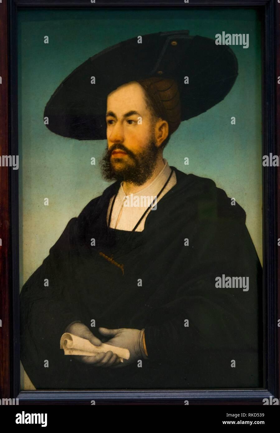 France, Hauts de France. Pas de Calais. Louvre-Lens Museum: Painting by Hans Maler (1480-1529) of Anton Fugger (June 10, 1493 – September 14, 1560) - Stock Image