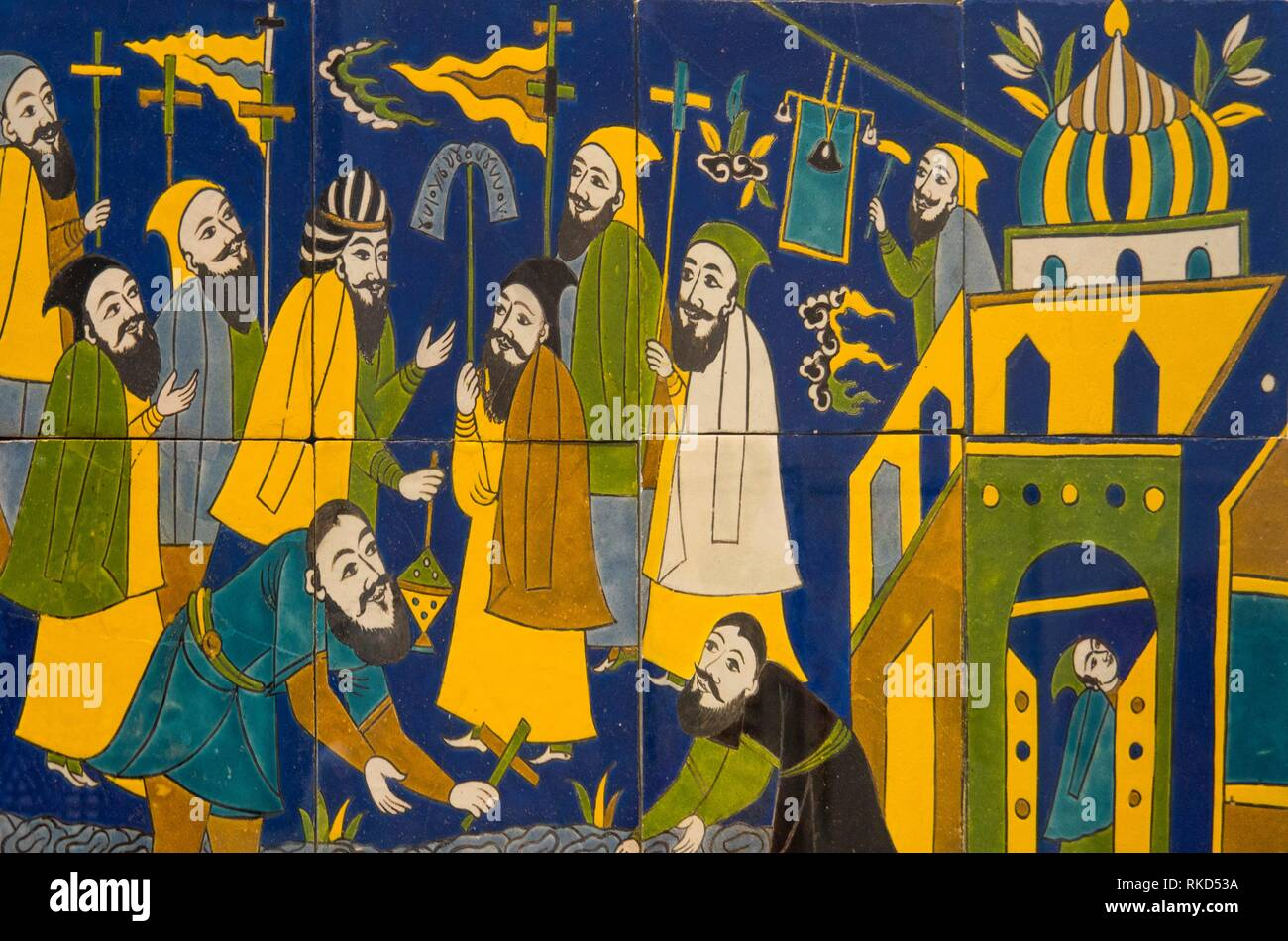 France, Hauts de France. Pas de Calais. Louvre-Lens Museum: Wall panel. Procession of the Armenian community to Isfahan (Ceramic decorated with black - Stock Image
