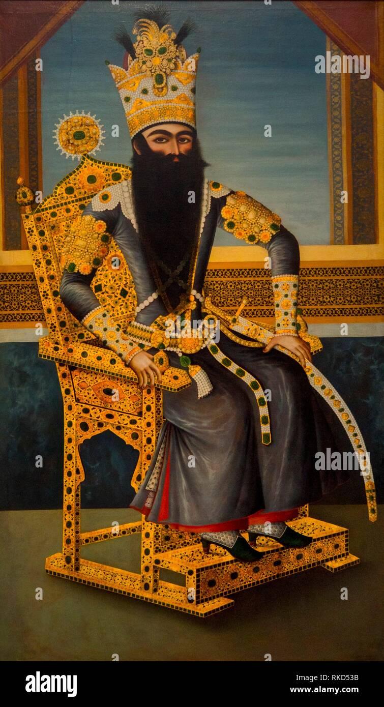 France, Hauts de France. Pas de Calais. Louvre-Lens Museum: Fat´h Ali Shah (1797-1834) ruler of the Qajar dynasty (canvas attributed to Mihr Ali, - Stock Image
