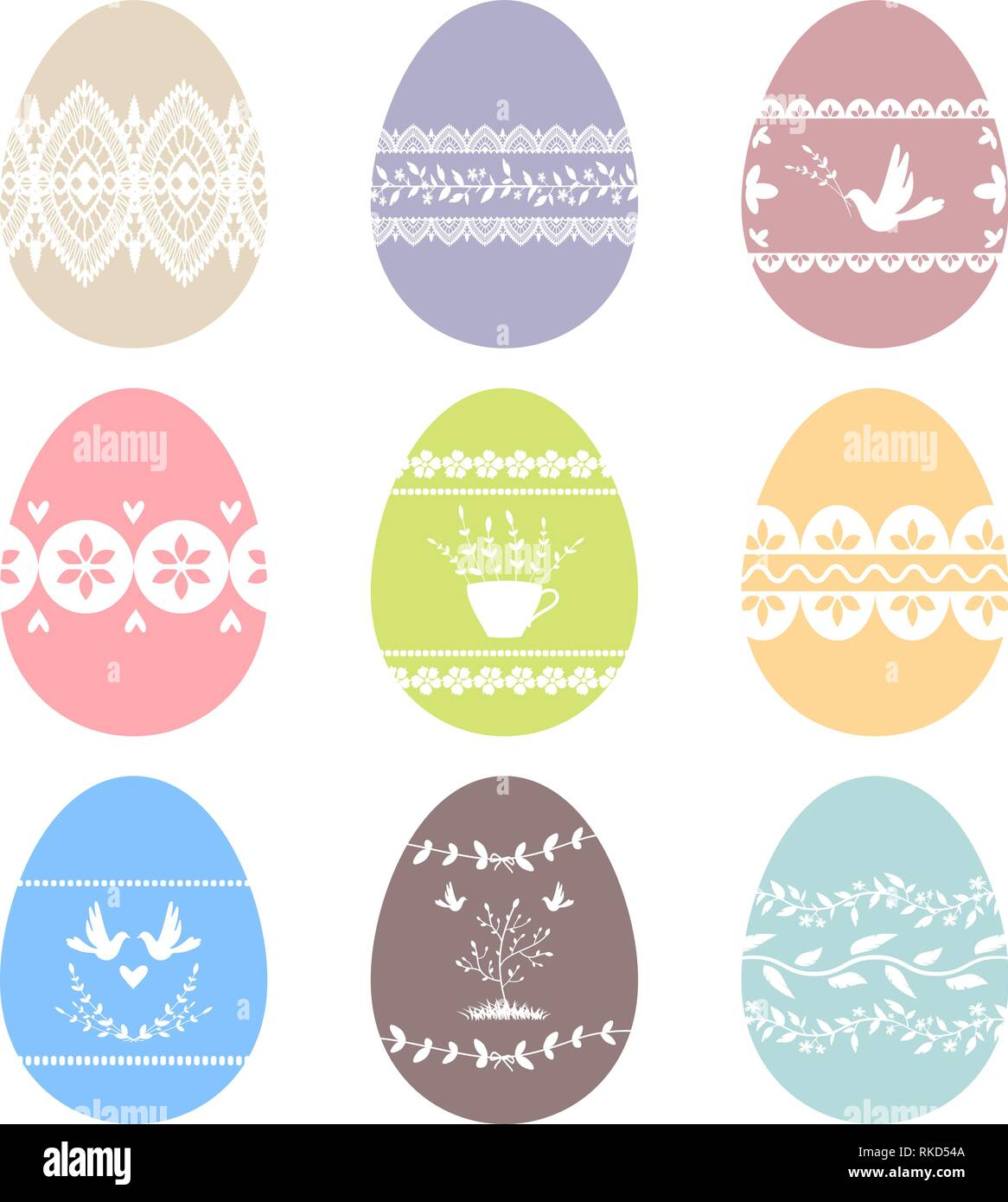 Collection of decorated Easter eggs. Vector images. Eps 10 - Stock Vector