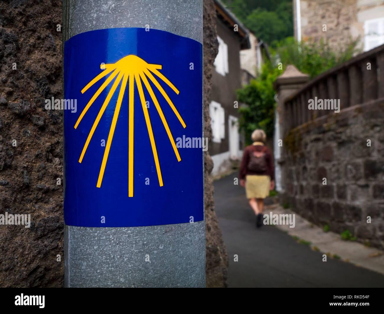 France, Auvergne,Cantal, Pilgrimage way to Santiago de Compostela, at Vic sur Cére. - Stock Image