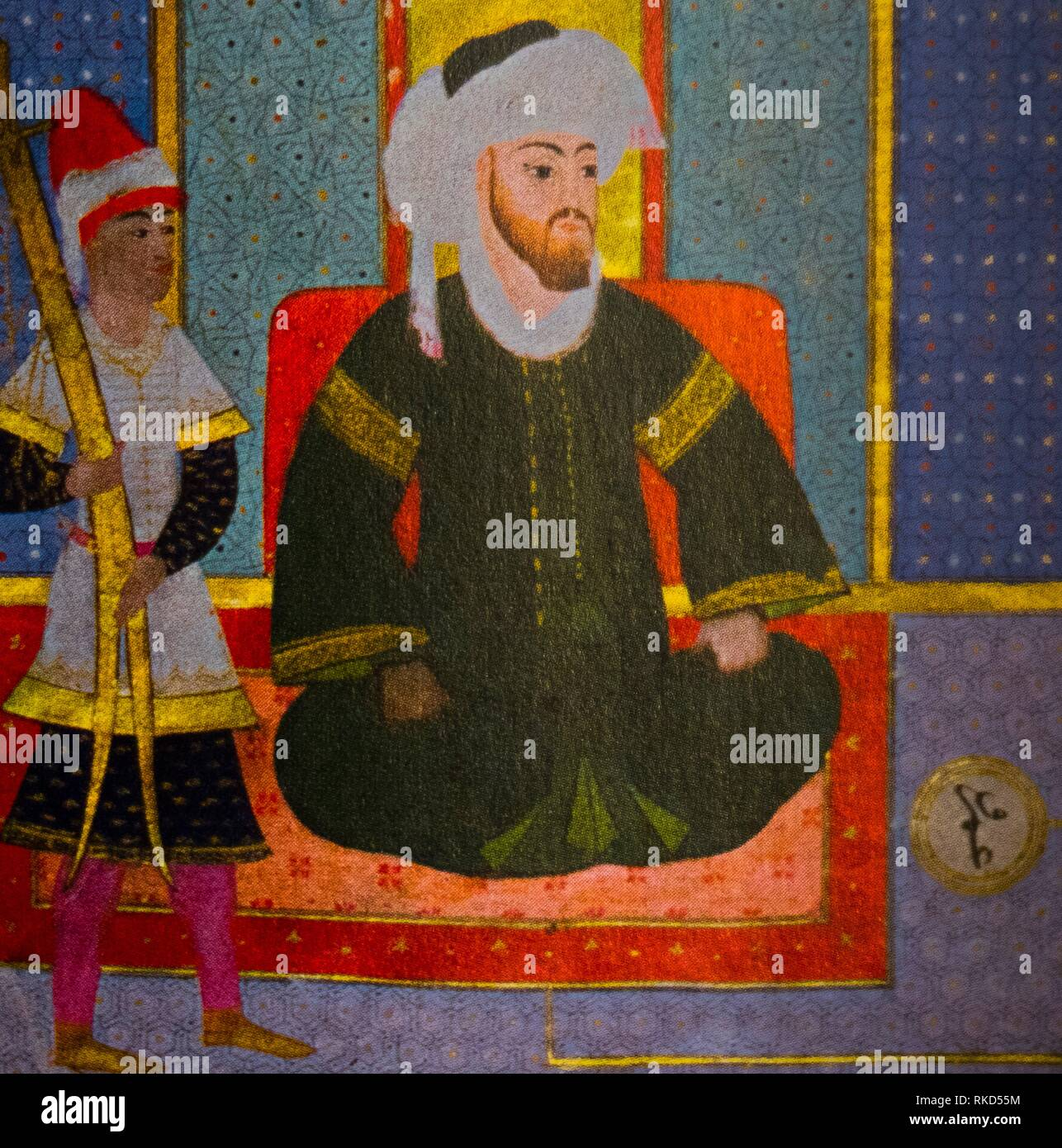 Islam. Uthman ( Turkish miniature, XVIc.). Uthman ibn Affan, also known in English by the Turkish and Persian rendering, Osman, (579–17 June 656), Stock Photo