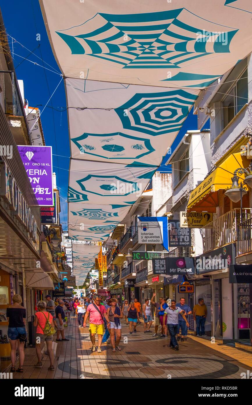 Spain, Andalusia, Malaga Province, the famed ''Calle San Miguel'' at Torremolinos. - Stock Image