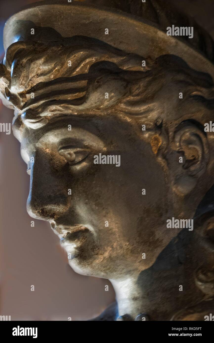 Closeup of goddess Diana statue. Diana or Diane is a feminine given name probably derived from an Indo-European root word referring to the divine. It Stock Photo
