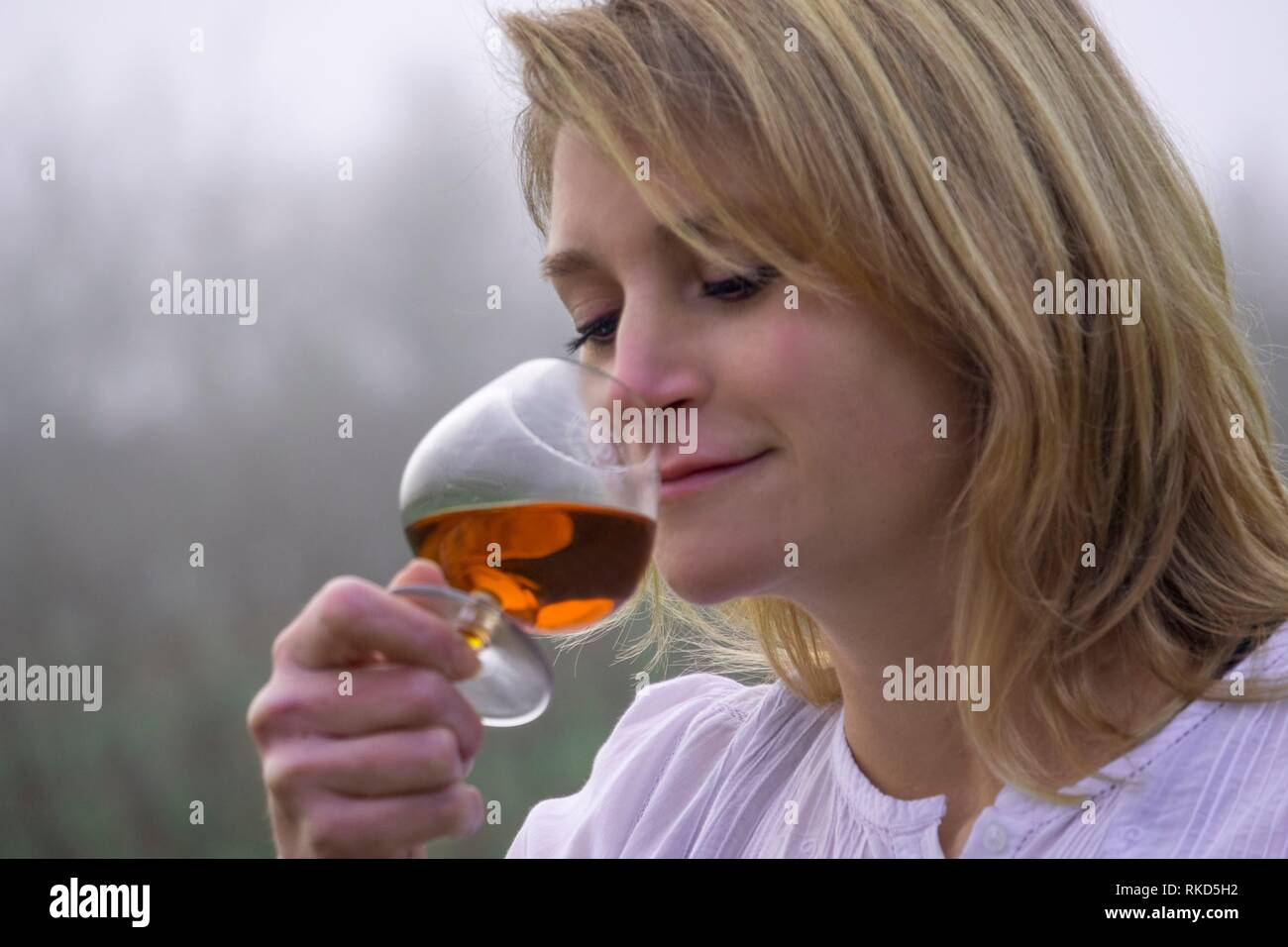 France, Occitanie, Gers, at the ''Armagnac Delord Estate'' at Lannepax. Tasting Armagnac. - Stock Image