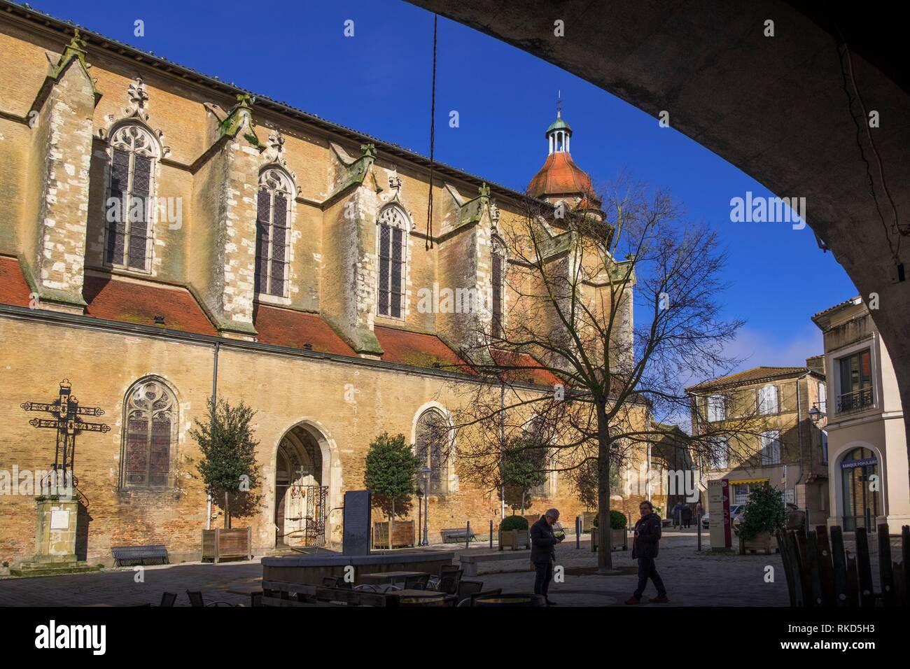 France, Occitanie, Gers, Parish church at Eauze. - Stock Image