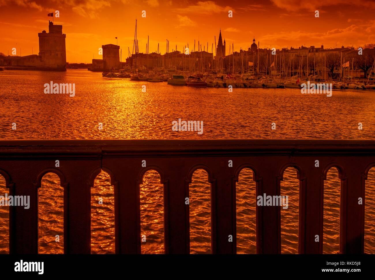 France, Nouvelle Aquitaine, Charente Maritime, Vieux Port at La Rochelle, at sunset - Stock Image