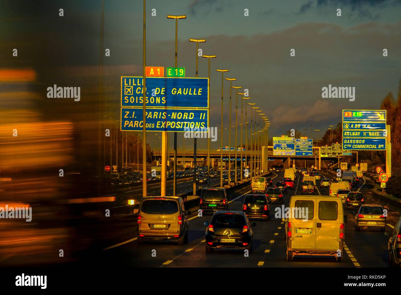 France, Paris, heavy traffic in the afternoon around Paris. - Stock Image