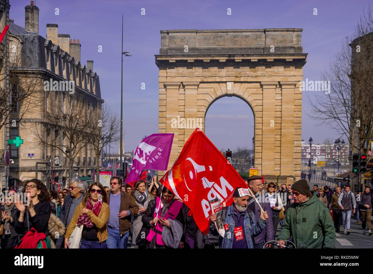 France, Nouvelle Aquitaine, Gironde, Rally at the general strike of the 22 of march 2018, at Bordeaux. - Stock Image