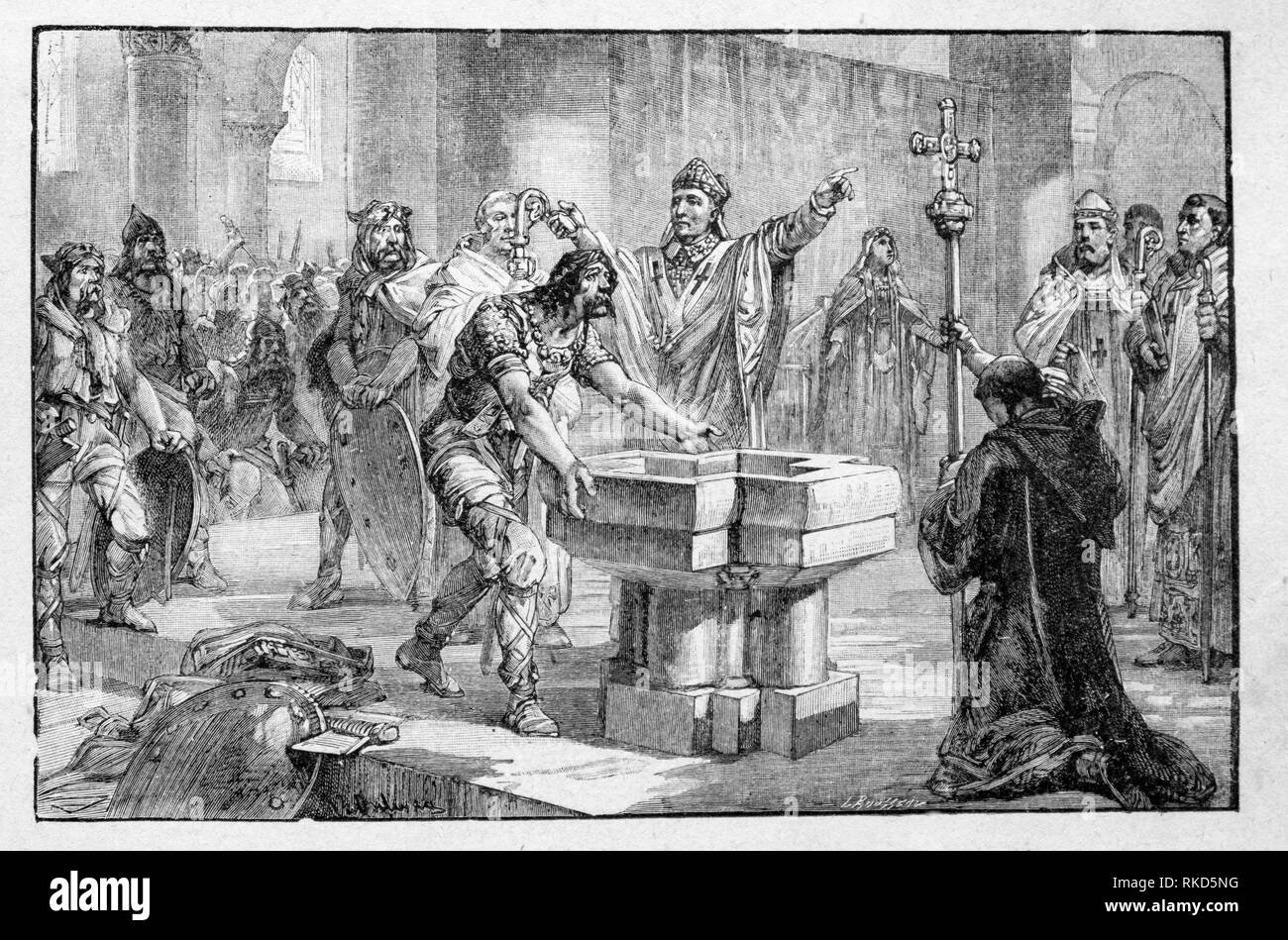 France. Clovis baptism: Clovis ( 466 - 27 November 511) was the first king of the Franks to unite all of the Frankish tribes under one ruler, - Stock Image