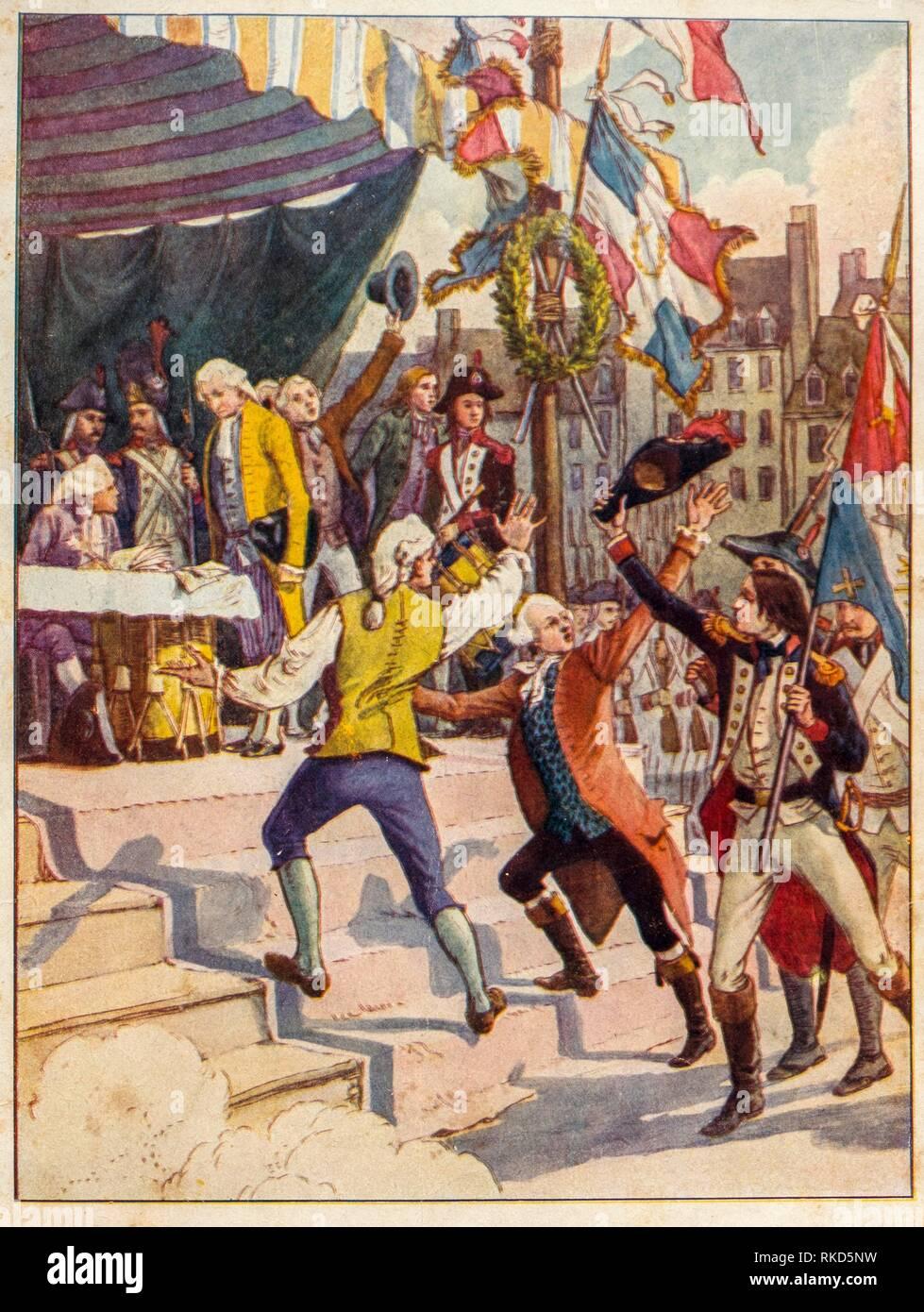 "France. Voluntary enroling during the Revolution, in """"Mon Histoire de France"""" by Medemoiselles H-S Brés. Hachette Pub. 1926) Stock Photo"