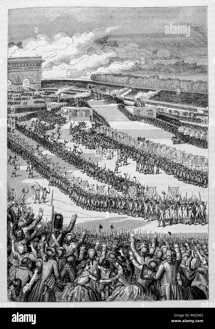 France. ''Fête de la Federation'' 14 july 1790 on Champs de Mars, at Paris ( drawing 1890). - Stock Image