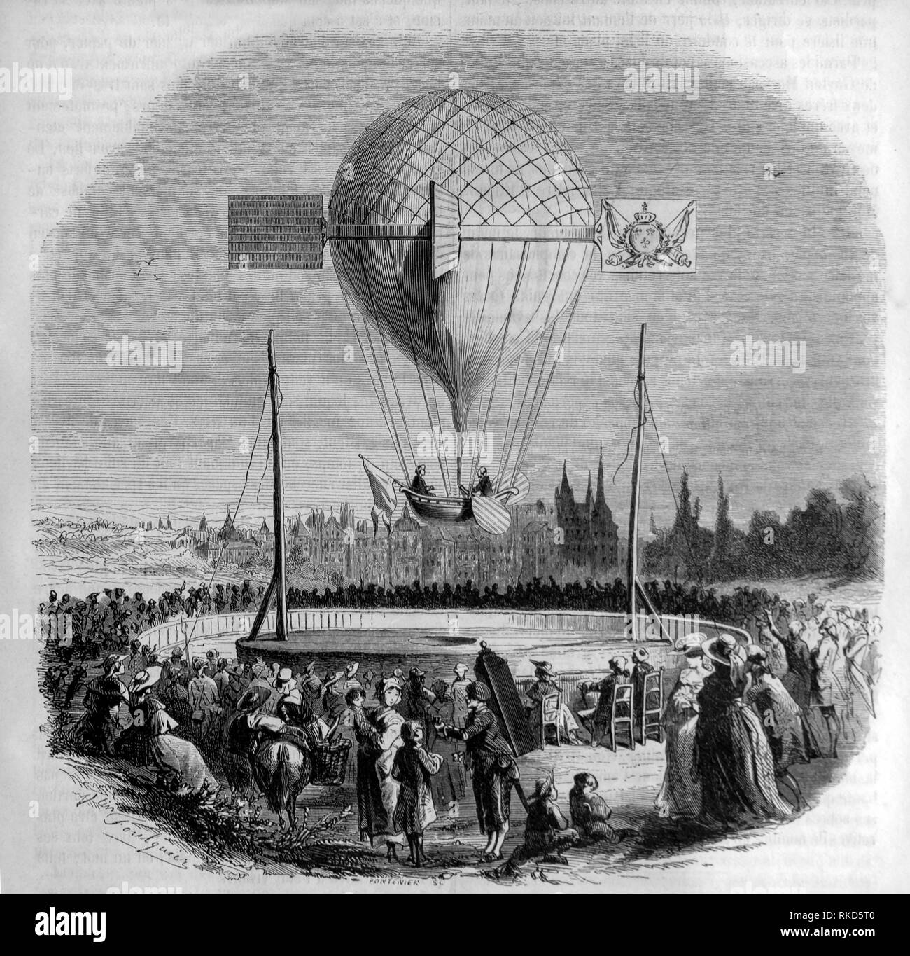 France. Aerostatic experience at Dijon on the 25th of april 1784. The balloon was monted by the Abbey Berteau and Mr. Morvaux. - Stock Image