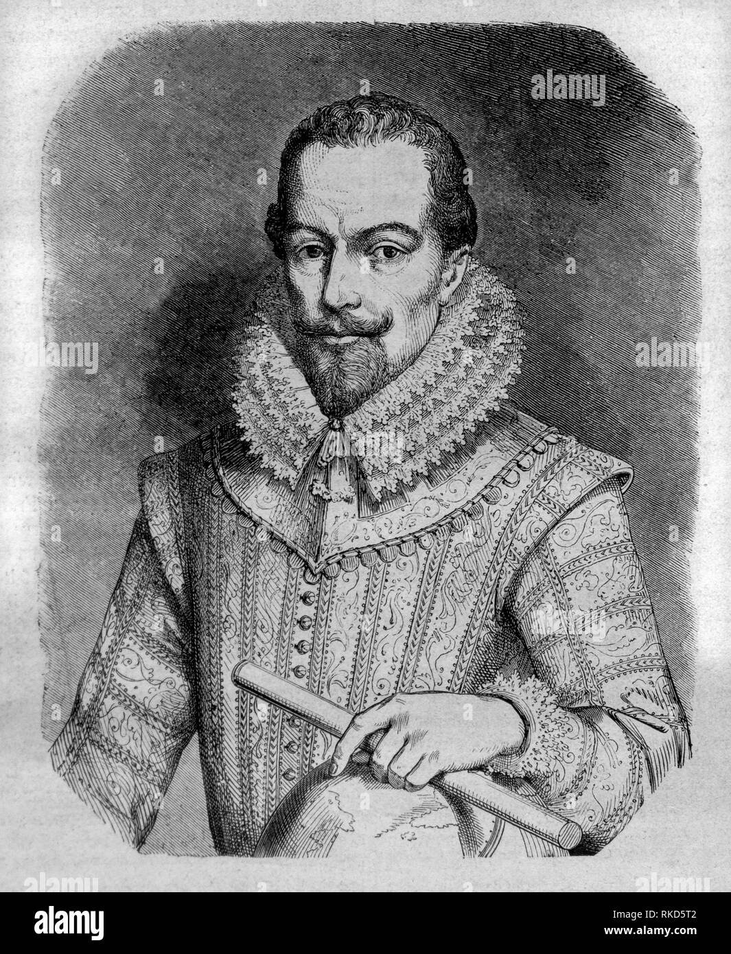 Walter Raleigh. Sir Walter Raleigh (circa 1554 - 29 October 1618) was an English landed gentleman, writer, poet, soldier, politician, courtier, spy - Stock Image