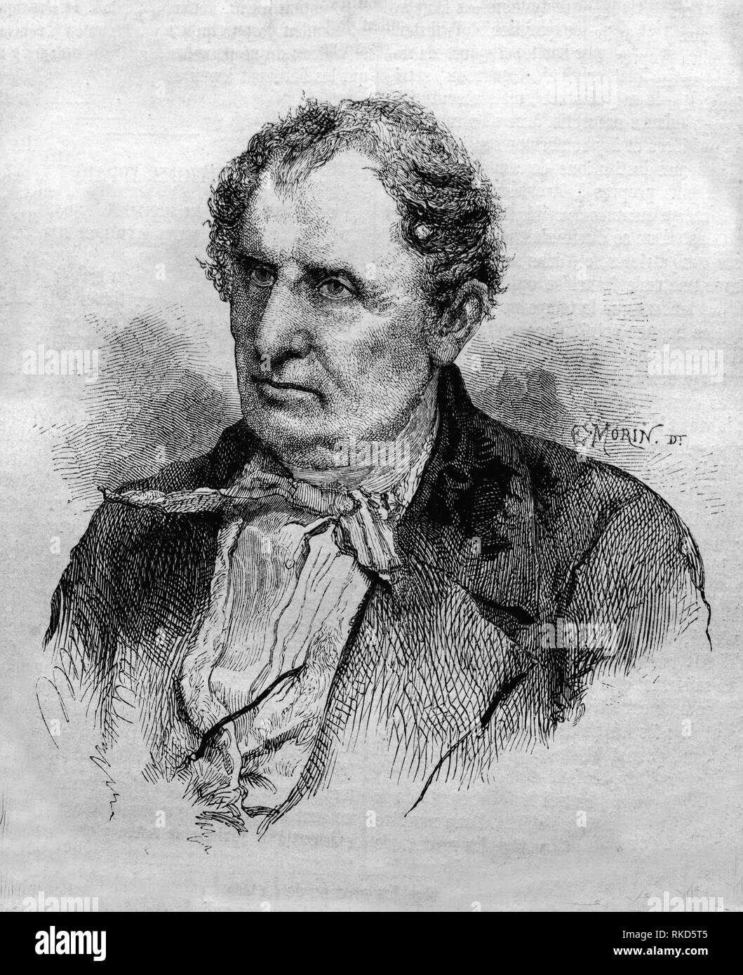 James Fenimore Cooper, drawing by Morin, 1853 (September 15, 1789 - September 14, 1851) was a prolific and popular American writer of the first half - Stock Image