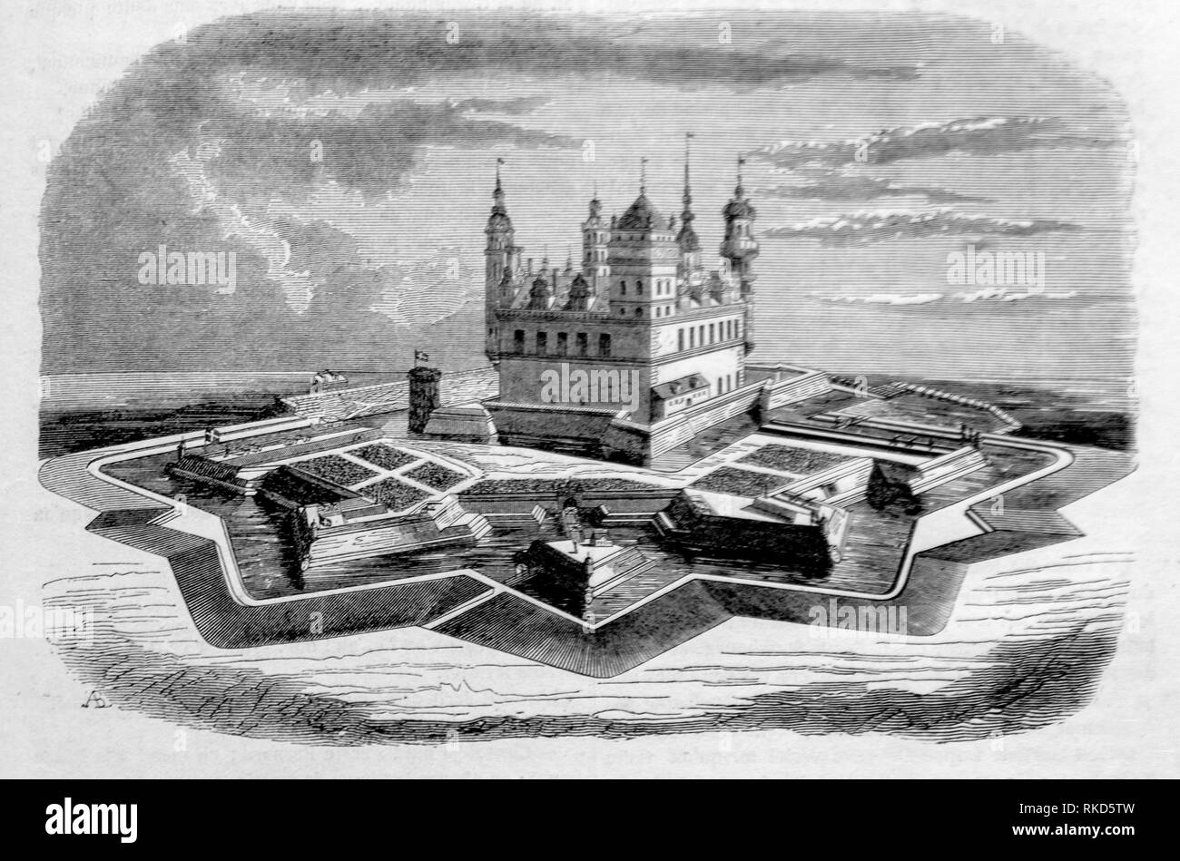 Denmark. Kronborg (Drawing 1843). Kronborg is a castle and stronghold in the town of Helsingør, Denmark. Immortalized as Elsinore in William - Stock Image