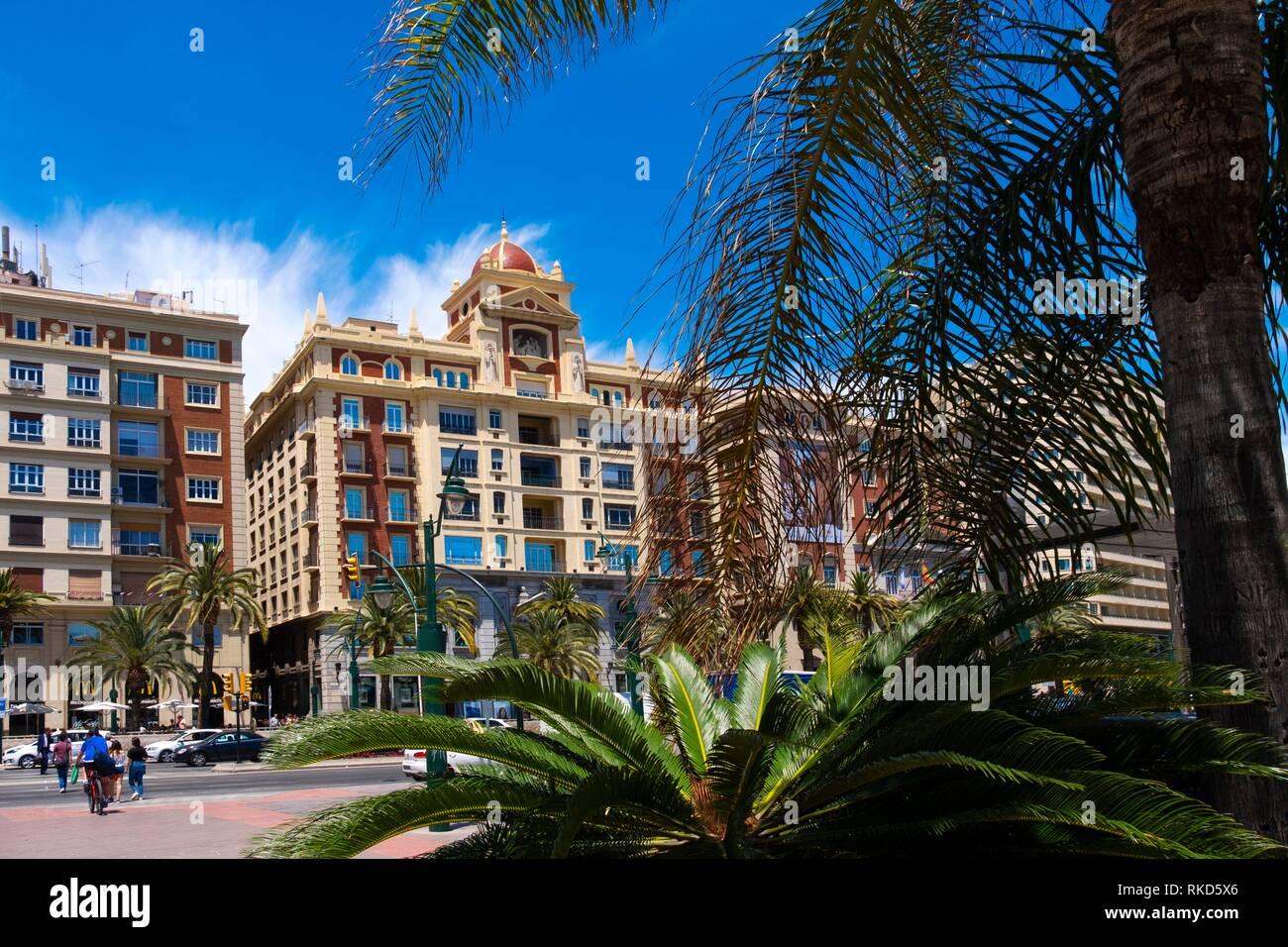 Alameda Principal, at Malaga, Andalusia, Spain. - Stock Image