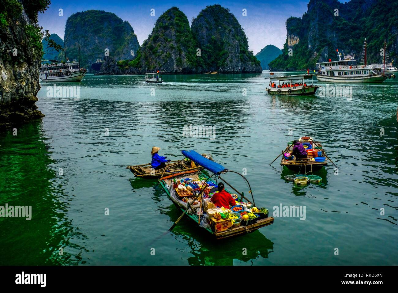 Vietnam, Ha Long Bay is a UNESCO World Heritage Site and popular travel destination in Quang Ninh Province, Vietnam. Administratively, the bay - Stock Image