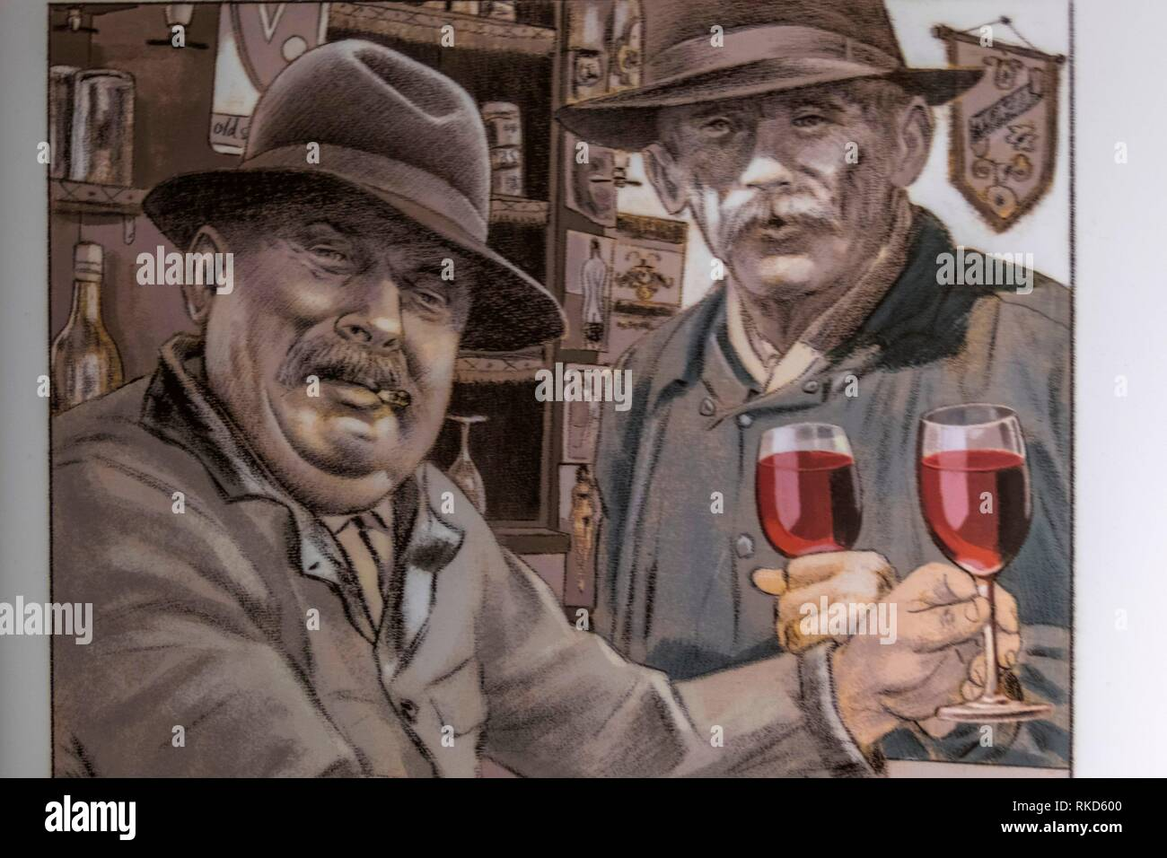 France, Occitanie, Aveyron, at the ''Pierre and Marie Museum'' at Saint Santin d´Aveyron. Poster of the ''Reds'' ( socialists) from Saint Santin de - Stock Image