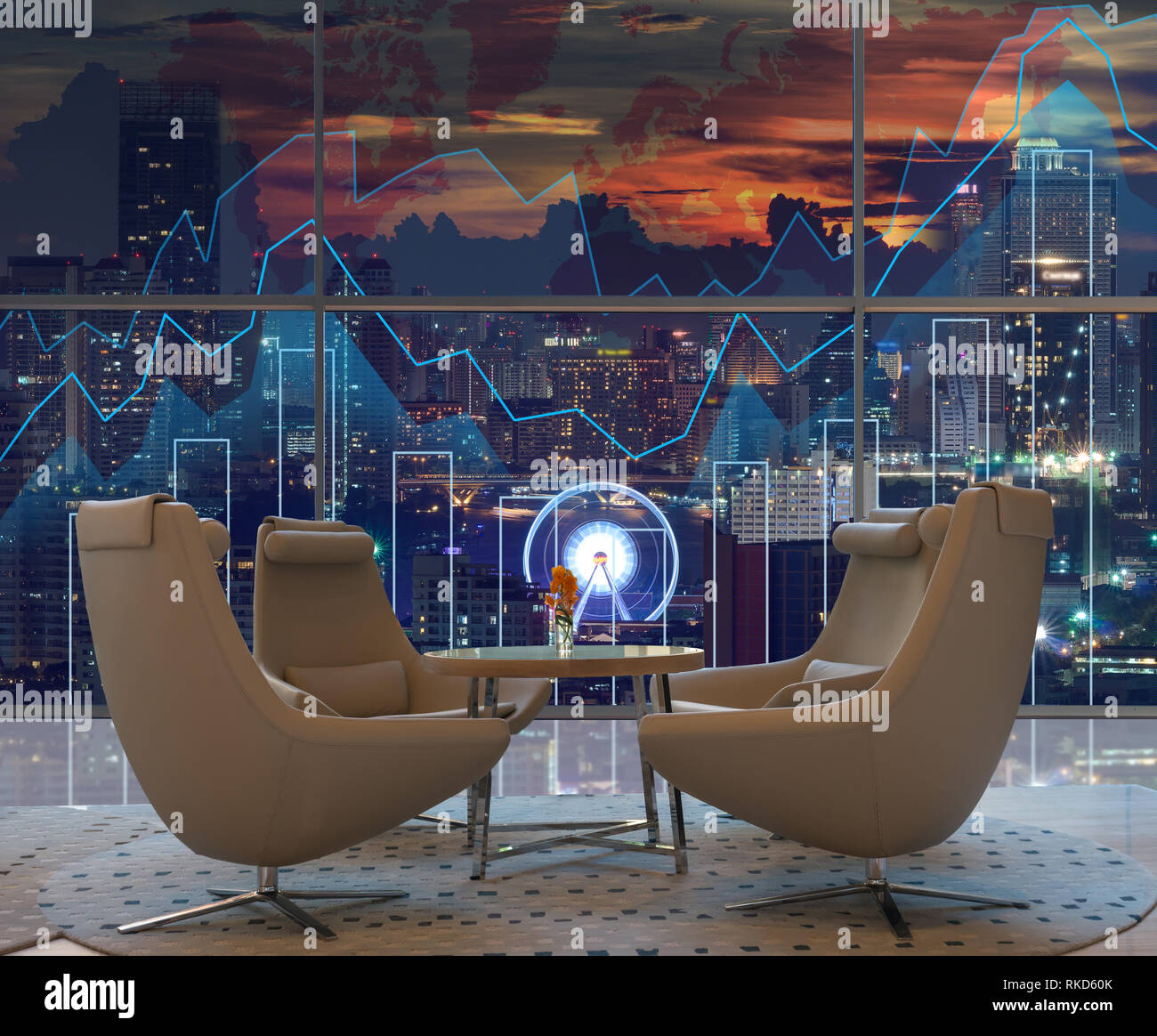Lobby area of a hotel which can see Trading graph on the cityscape at night and world map background,Business financial concept - Stock Image