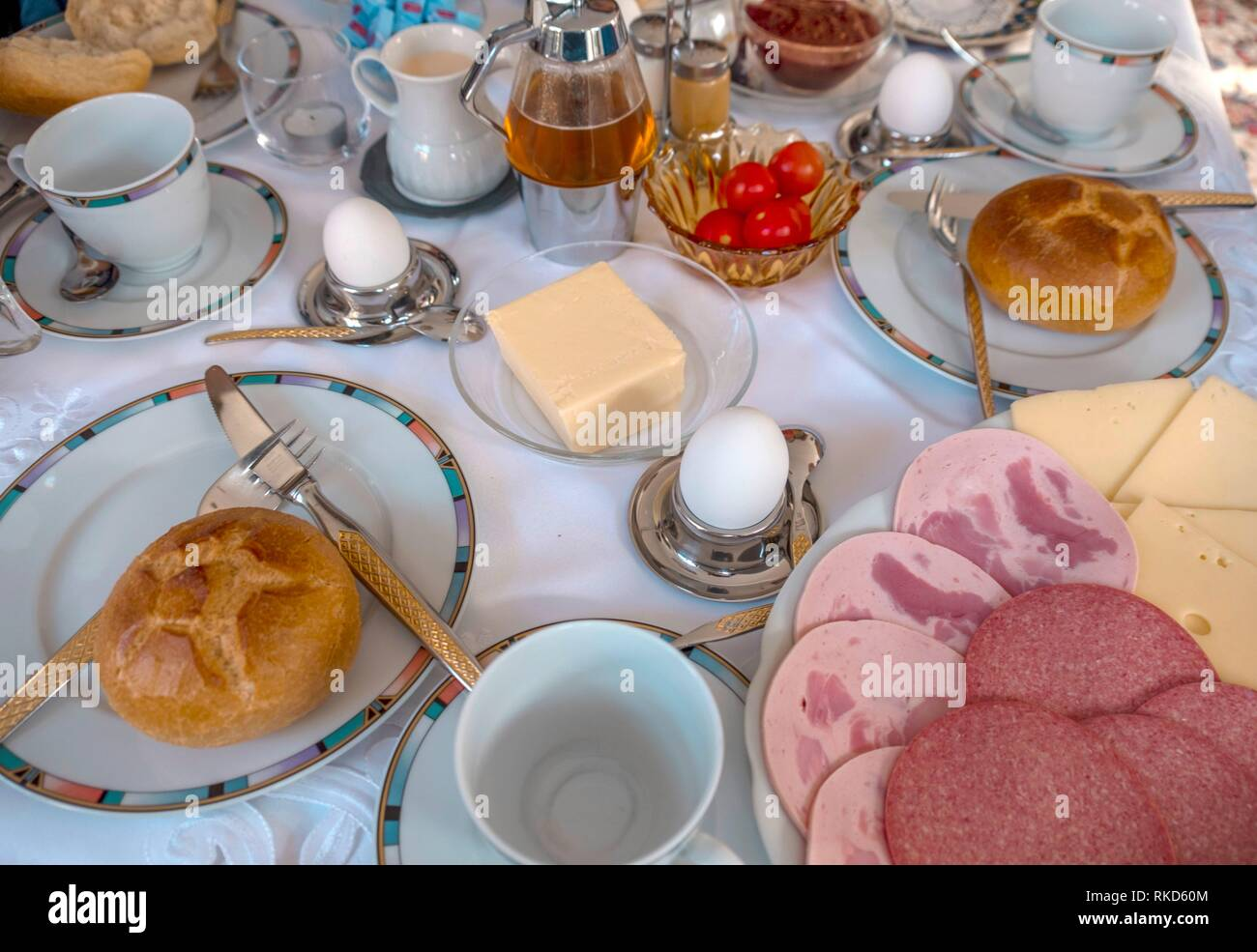 Germany, Food, Breakfast table. - Stock Image