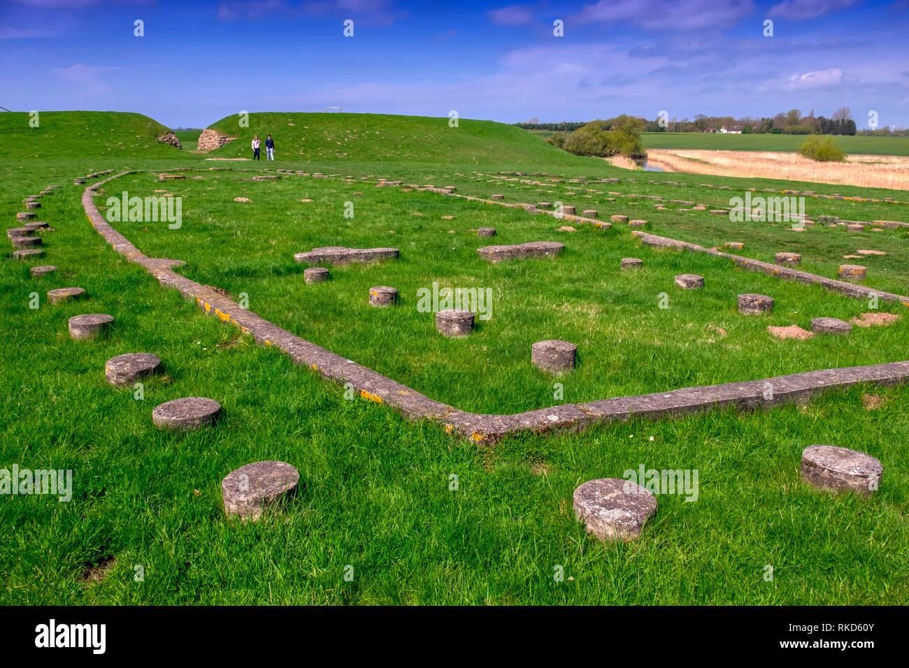 Denmark, viking ring castle, at the Trelleborg Museum. Trelleborg (Slagelse). The Trelleborg (or Trælleborg) west of Slagelse on the Danish island of - Stock Image