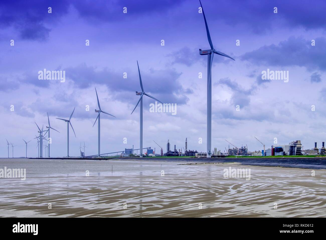 Netherlands- eolic power and chemical industry at Delfzijl. - Stock Image