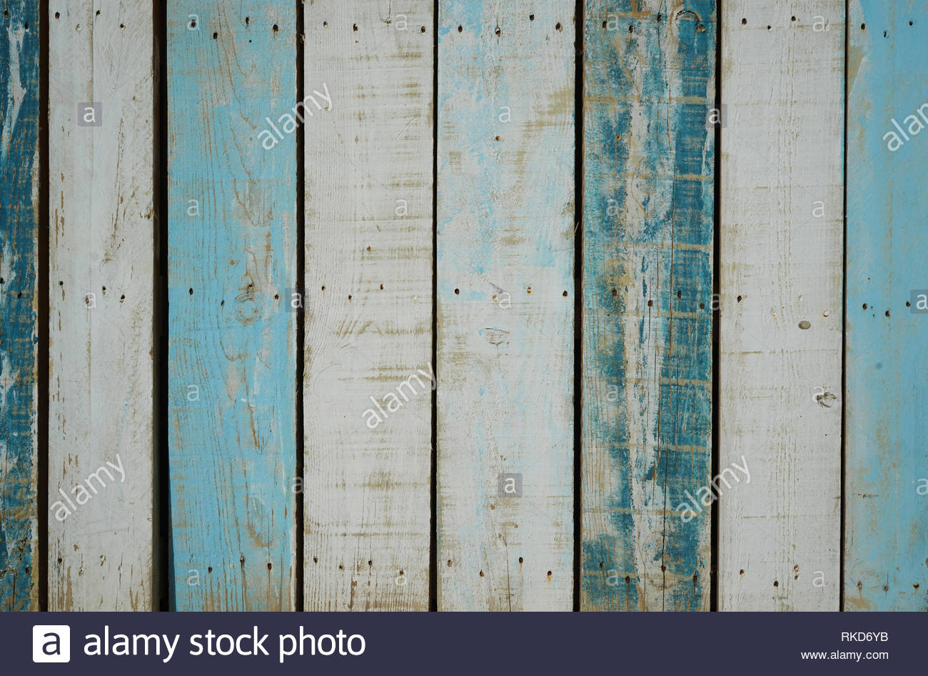 Vintage blue planks - Stock Image