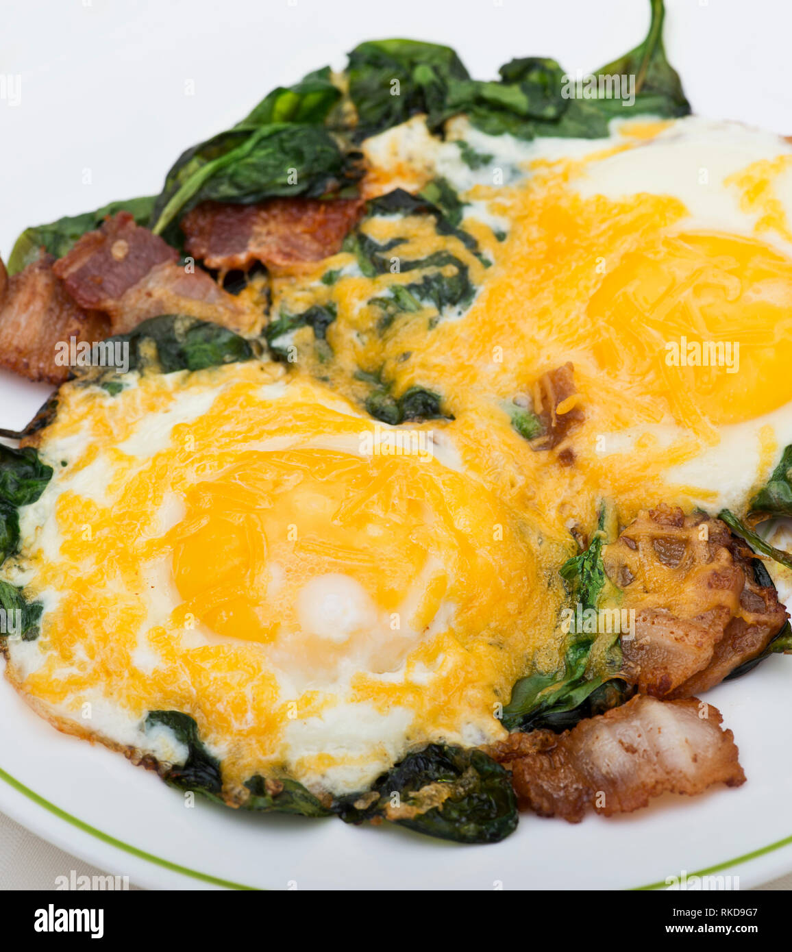 Keto Diet Breakfast With Eggs Spinach And Bacon Low Carb High Fat