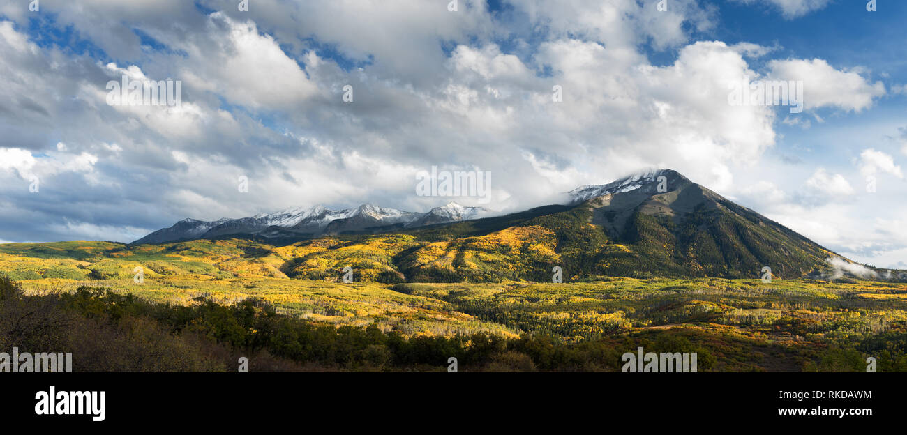 East and West Beckwith Mountains viewed from Kebler Pass Road. Located in Gunnison National Forest, Colorado. - Stock Image