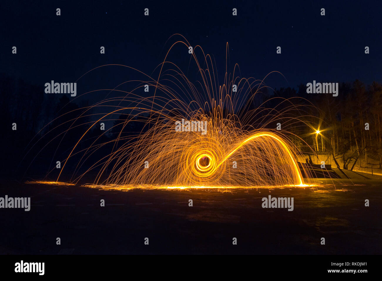 Steel wool long exposure photograph at night, photography workshop Stock Photo