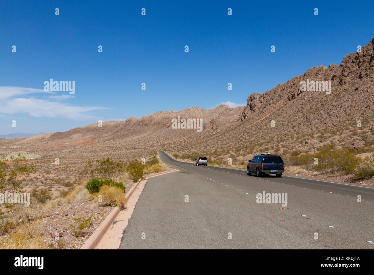 View down NV-167 (Northshore Road), Lake Mead Recreation Area, Nevada, United States. - Stock Image