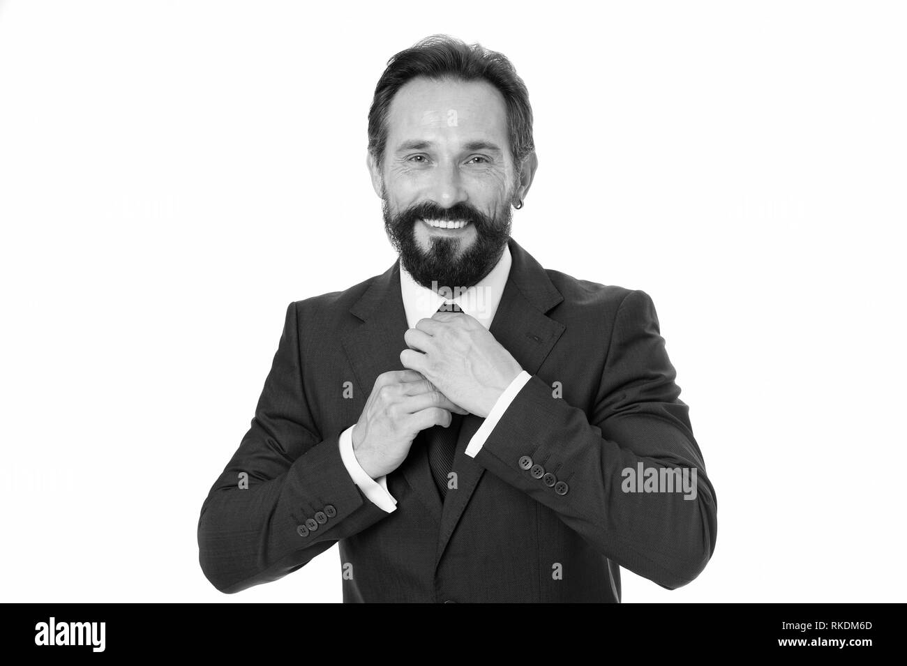 23fedcc82 Business man bearded mature formal suit adjust accessory. Businessman or  manager prepare outfit. Business