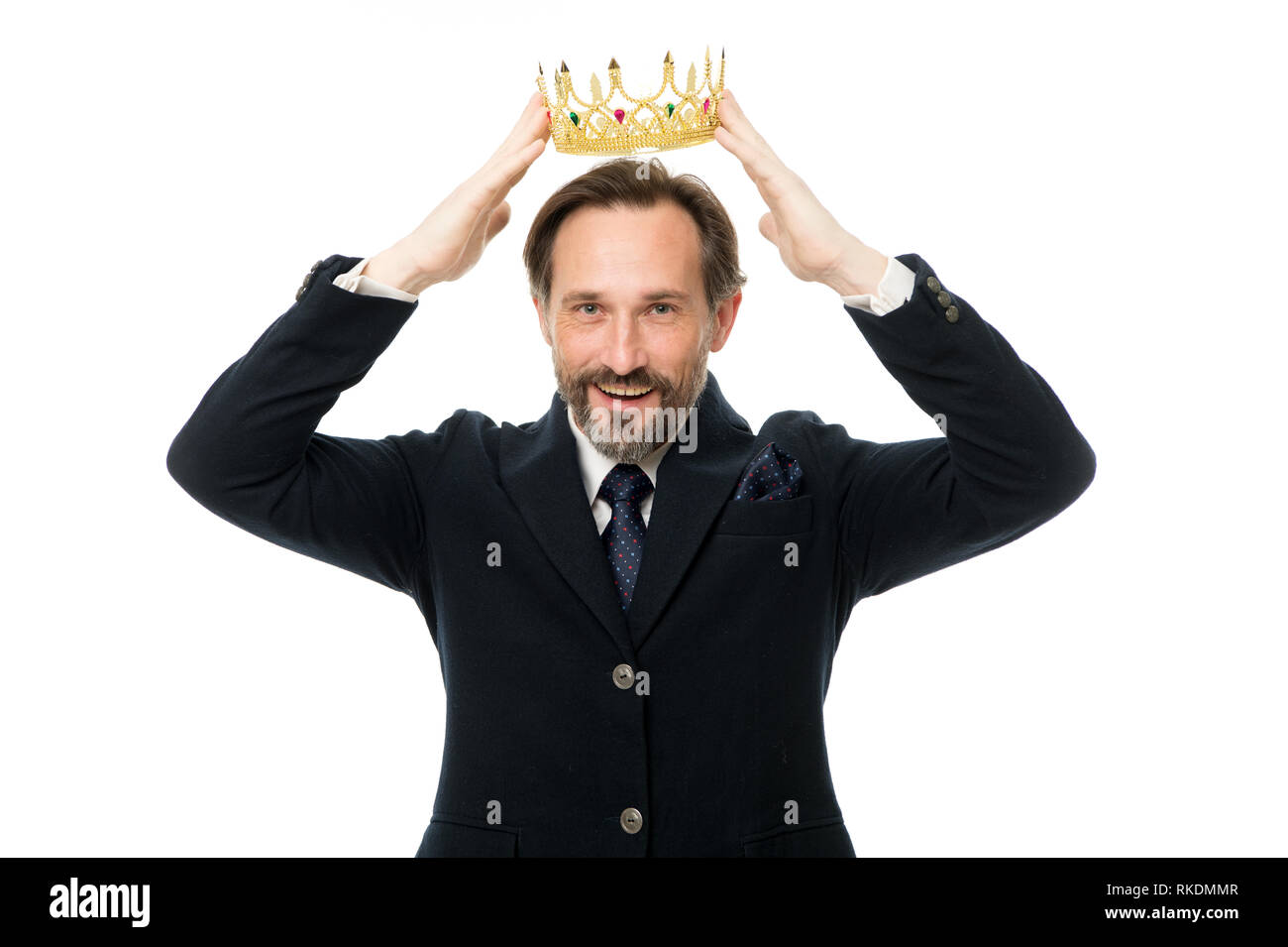 Become next king. Monarchy family traditions. Man nature bearded guy in suit hold golden crown symbol of monarchy. Direct line to throne. Enormous privilege. Become king ceremony. King attribute. - Stock Image