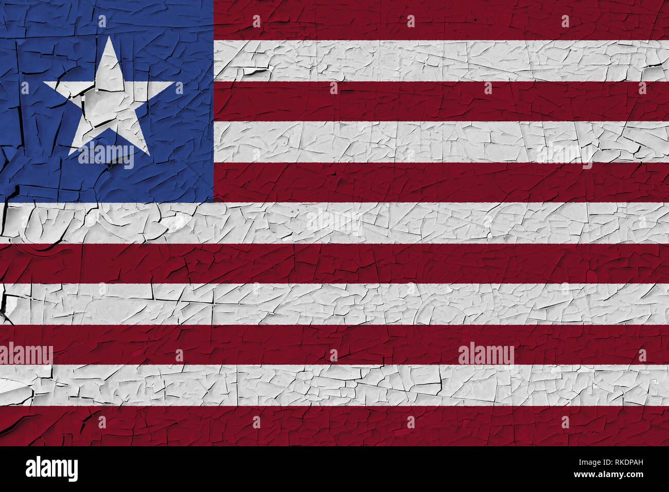 Liberia painted flag. Patriotic old grunge background. National flag of Liberia - Stock Image