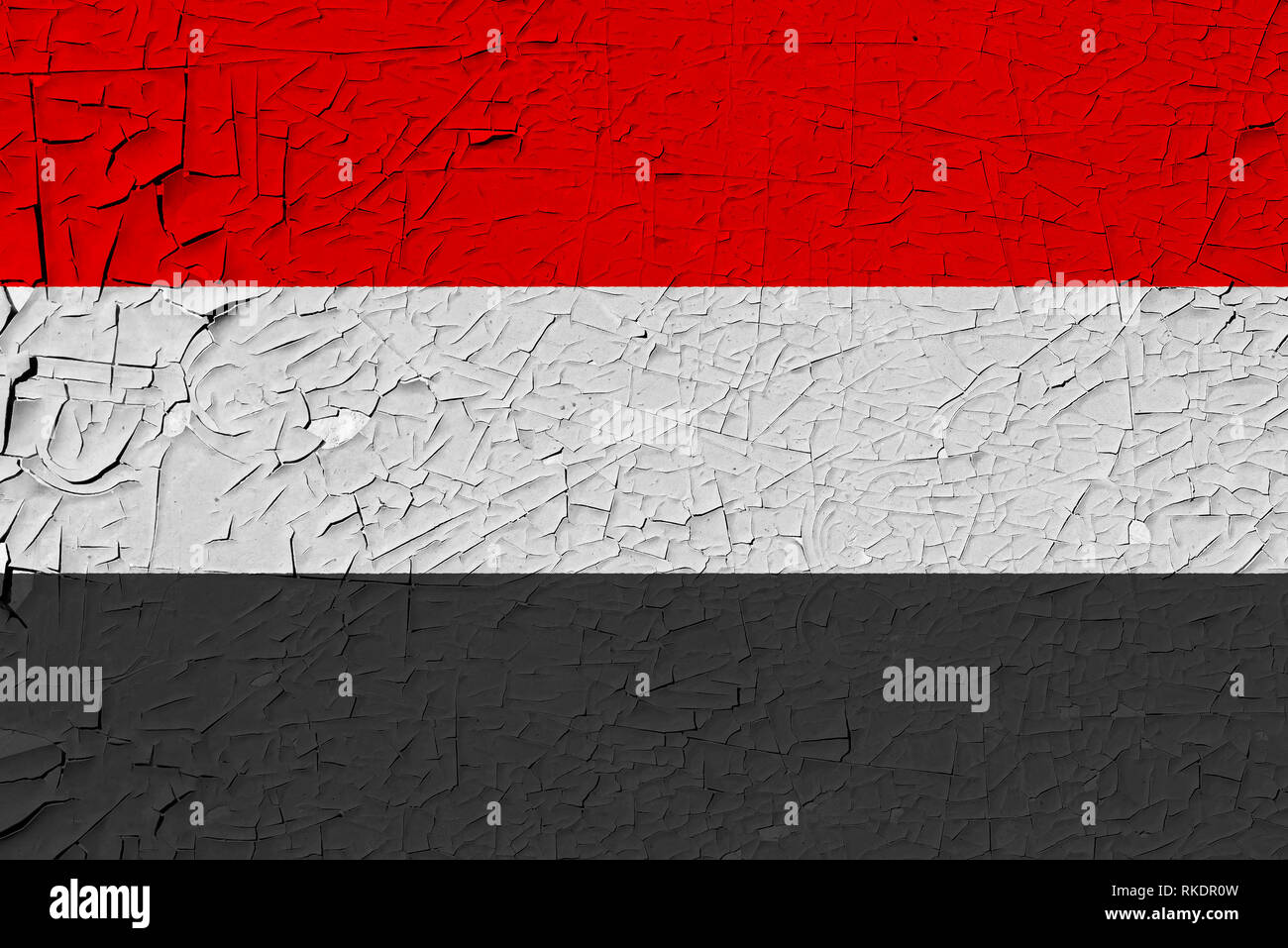 yemen painted flag - Stock Image