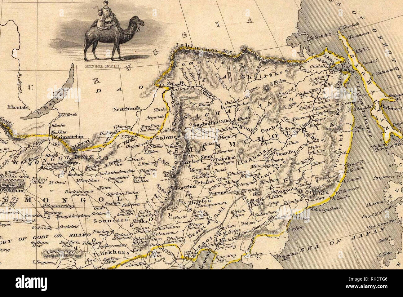 The NE section (Manchuria and Mongolia) of the map of the northern and western part of the Chinese Empire - Thibet, Mongolia, and Mandchouria. The borders are shows as per the 1858 treaty of Aigun. - Stock Image