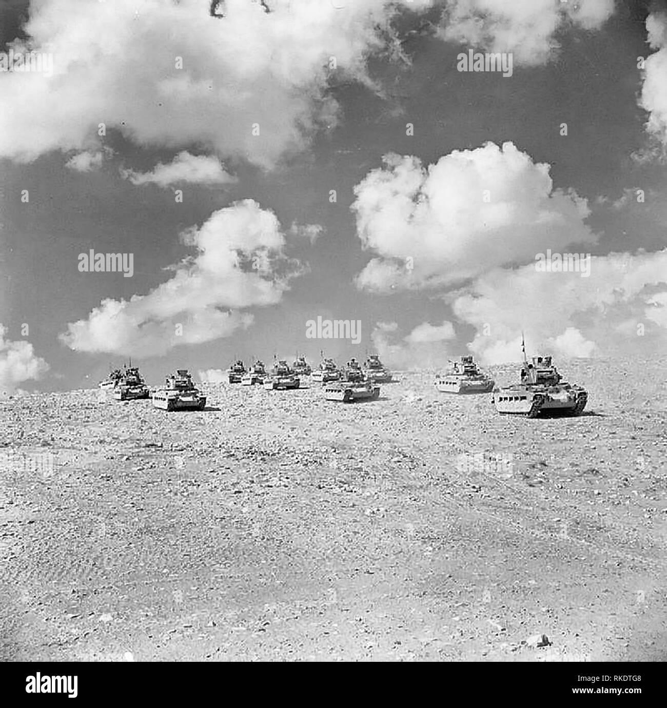British Matilda tanks move forward at Tobruk - September, 1941 - Stock Image