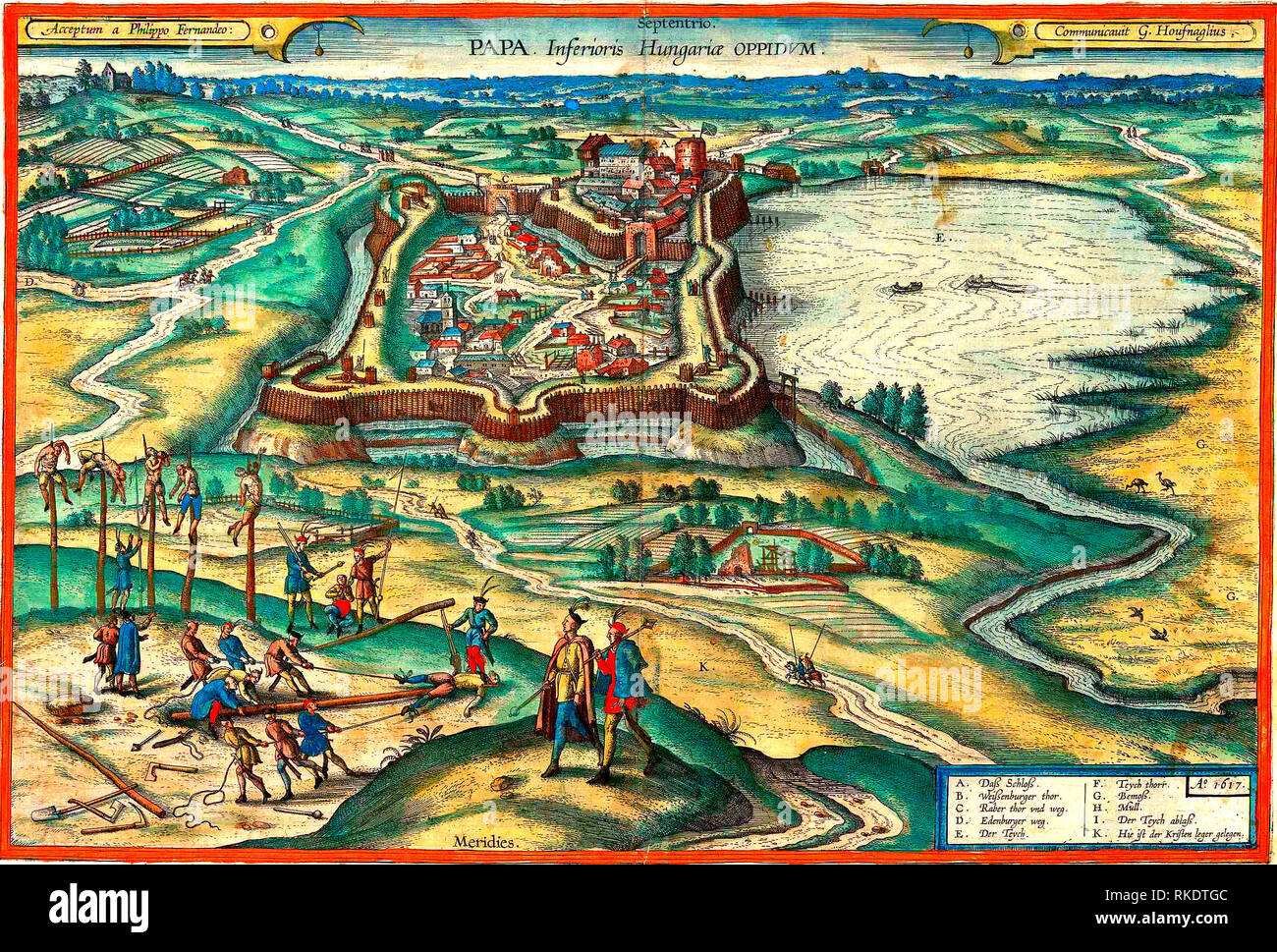 Engraving of the Pápa castle by Georgius Houfnaglius from 1617, in the foreground probably depicting the execution of the mutinous Walloon mercenaries in 1600 - Stock Image